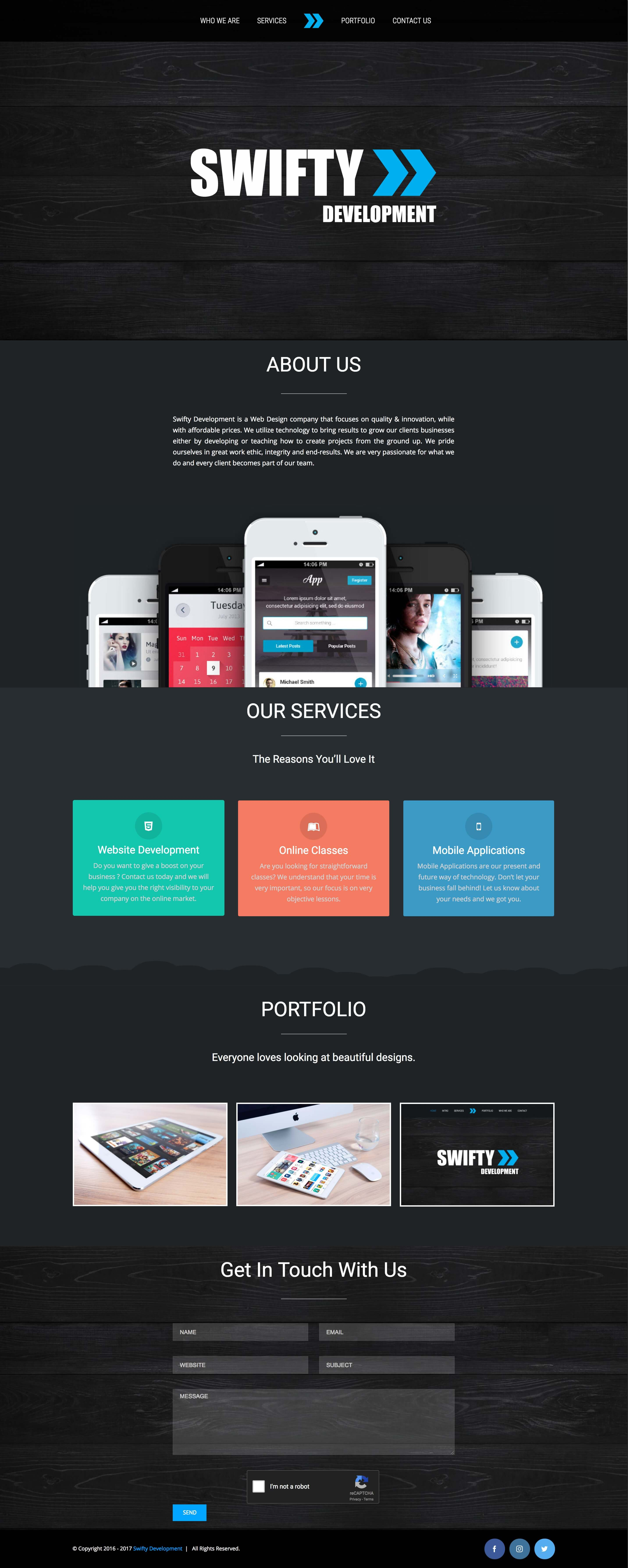 Swifty Development - Web Design & Development (Swifty Website Portfolio Image)